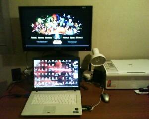 Mi notebook Bangho EV 1508 y monitor samsung de 24 pulgadas.